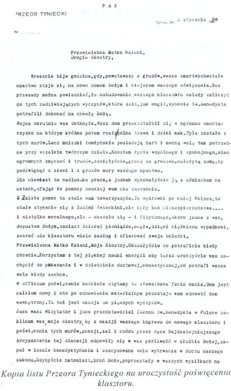 Kopia listu Przeora Tynieckiego na uroczystość poświęcenia klasztoru 1