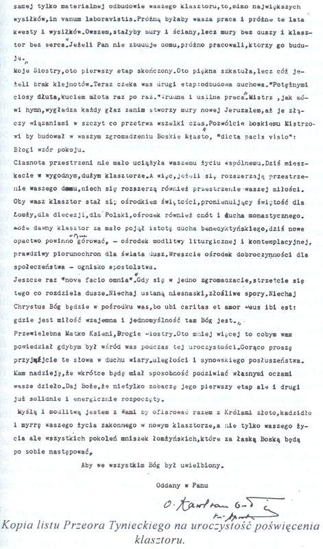 Kopia listu Przeora Tynieckiego na uroczystość poświęcenia klasztoru 2