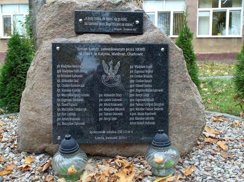 Lista synów Łomzy zamordowanych przez NKWD W 1940 R. Katyniu, Miednoje, Charkowie.