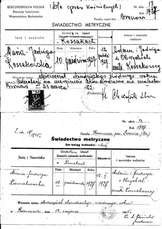 Skan metryki Maria Kossakowska