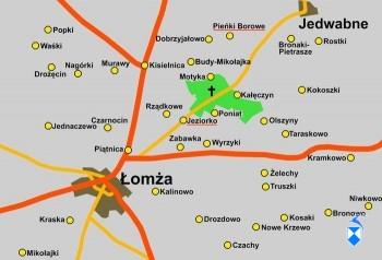 Mapka cmentarza leśnego w Jeziorku