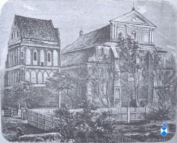 Kościół farny. Drzeworyt z połowy XIX w