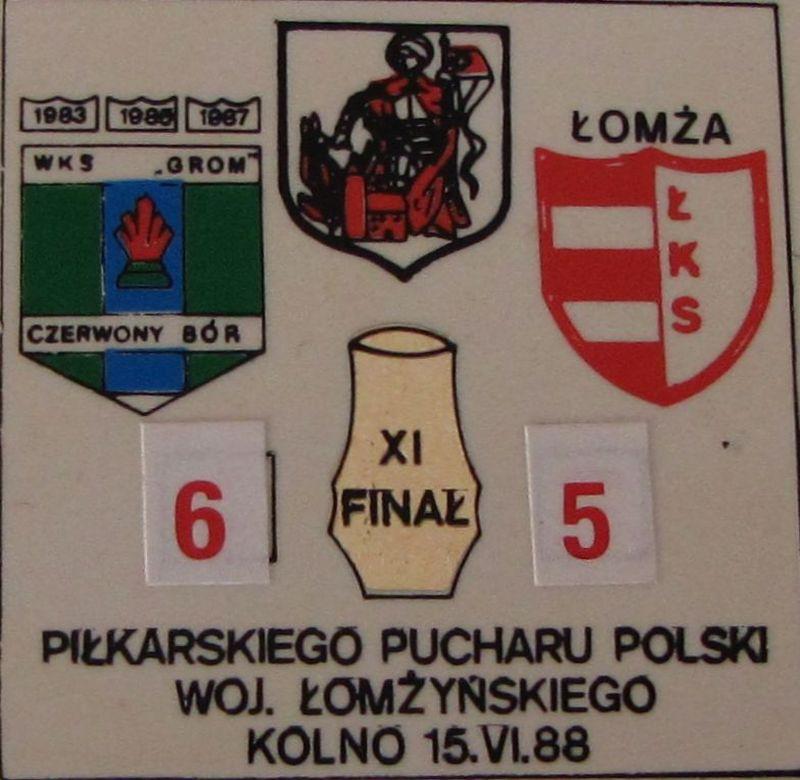 Odznaka Grom  - ŁKS po meczu puchar woj. łomżyńskiego w 1988 roku