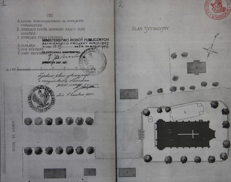 Plan sytuacyjny kościoła murowanego  1925 r.
