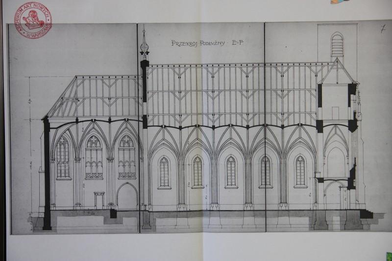 Rzut podłużny kościoła - dokument z 1925 r.