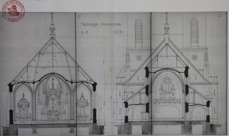 Rzuty poprzeczne kościoła  - dokumentacja z 1925 r.
