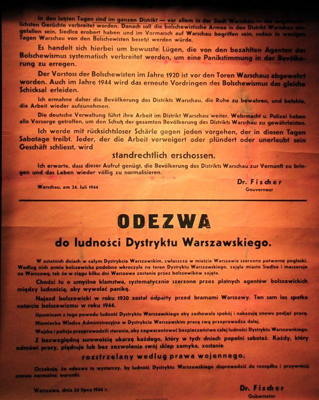 Muzeum Powstania Warszawskiego odezwa władz niemieckich