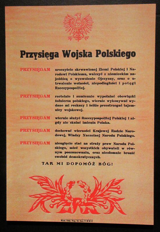 Muzeum Powstania Warszawskiego tekst przysięgi żołnierzy Berlinga