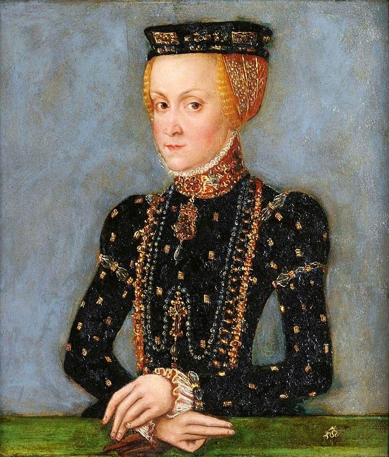 Anna Jagiellonka. Miniatura, warsztat Lucasa Cranacha Młodszego, 1555 r. jpg
