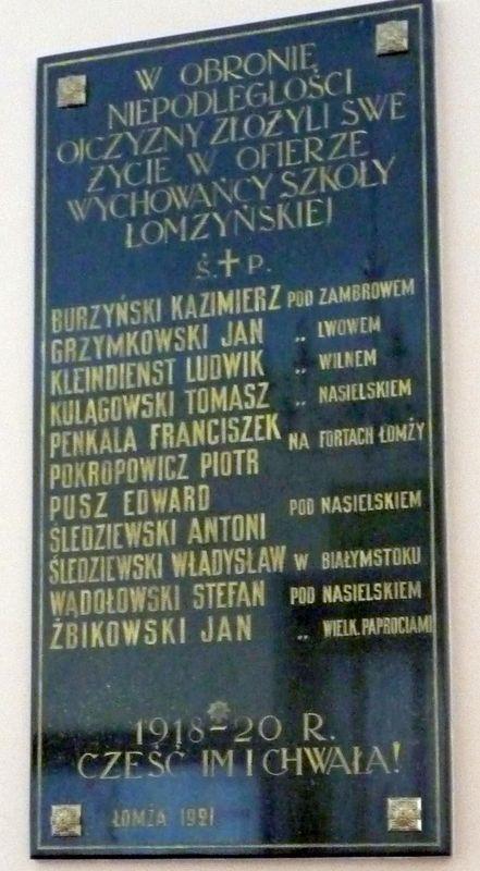 Tablica poległych uczniów  GTK w 1920 r.
