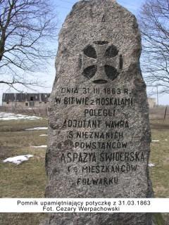 Pomnik upamiętniający potyczkę z 31.03.1863