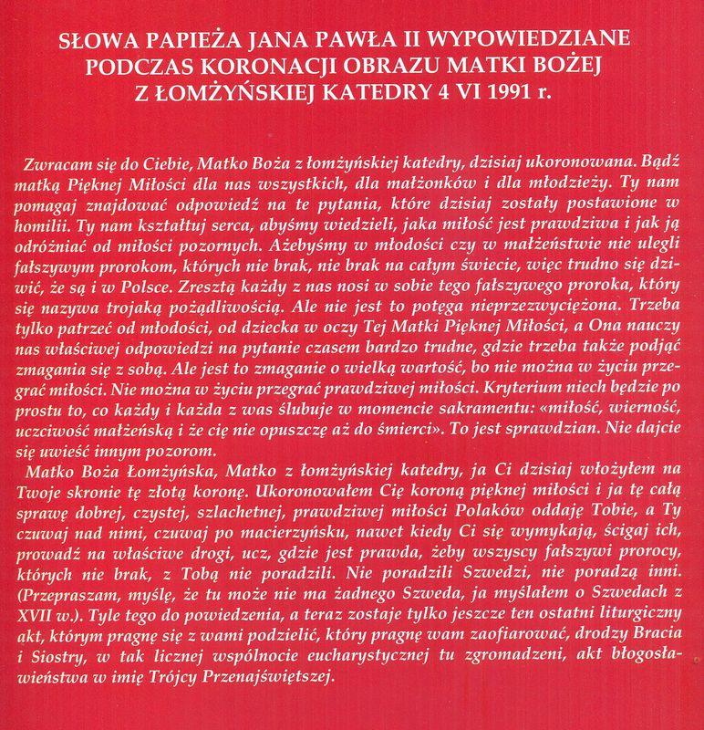 Słowa Papieża wypowiedziane podczas koronacji podczas koronacji Matki Bożej Łomżyńskiej