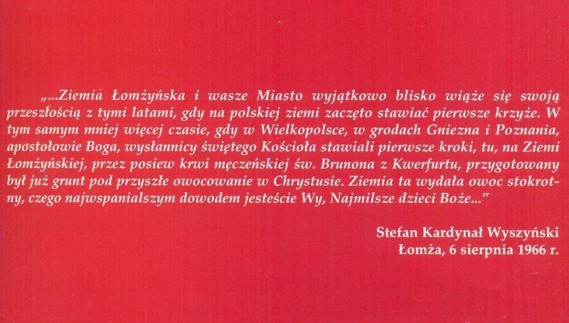 Słowa Stefana Kardynała Wyszyńskiego wypowiedziane podczas Obchodów Millenijnych w Łomży2