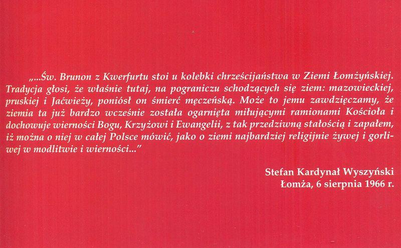 Słowa Stefana Kardynała Wyszyńskiego wypowiedziane podczas Obchodów Millenijnych w Łomży