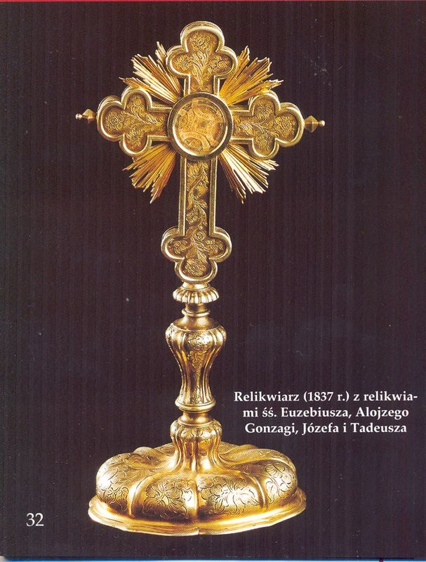 Relikwiarz z (1837 r.)z relikwiami śś Euzebiusza, Alojzego, Gonzagi, Józefa i Tadeusza