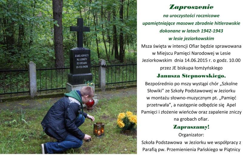 Zaproszenie na uroczystości związane z obchodami 70. rocznicy poświęcenia leśnego cmentarza w Jeziorku
