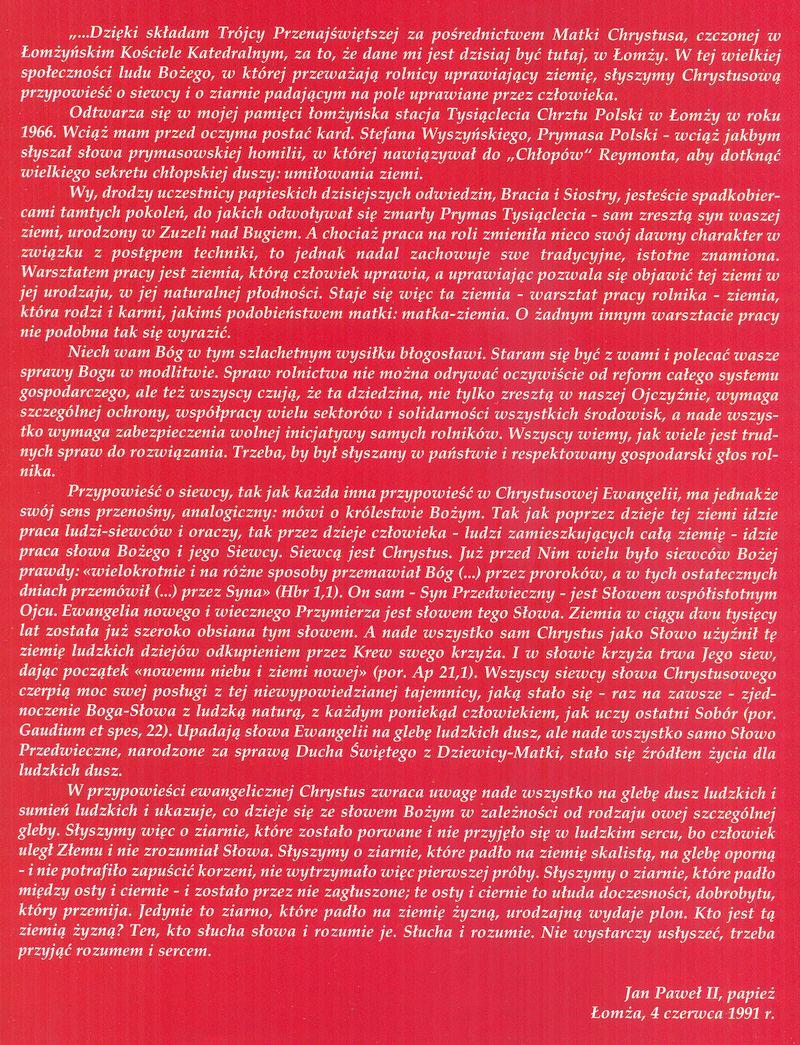 Słowa Jana Pawła II wygłoszone podczas wizyty w Łomży