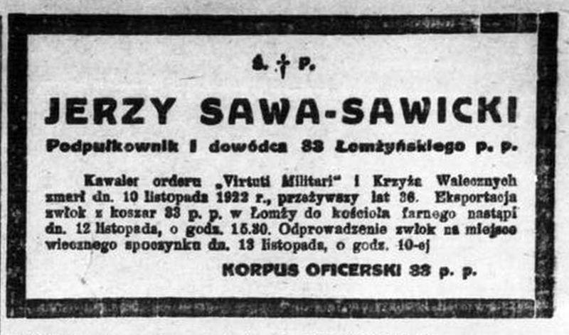Nekrolog ppłk. Jerzego Sawy - Sawickiego.