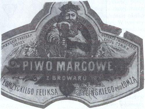Etykieta piwna z Browaru F. Ty lińskiego pod Łomżą, początek XX wieku. Ze zbiorów Kazimierza Szczechury.