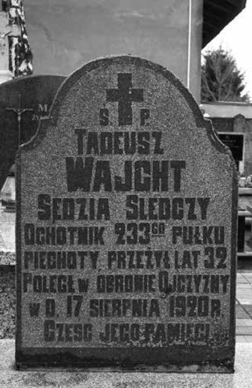 Nagrobek Tadeusza Wajchta na cmentarzu w Nasielsku