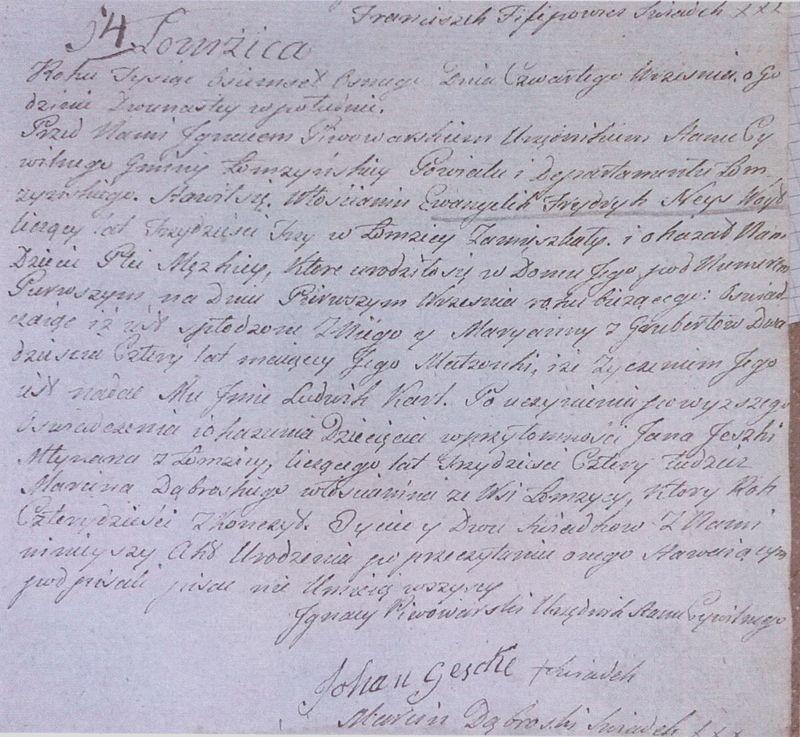 Akt urodzenia nr 54 z roku 1808
