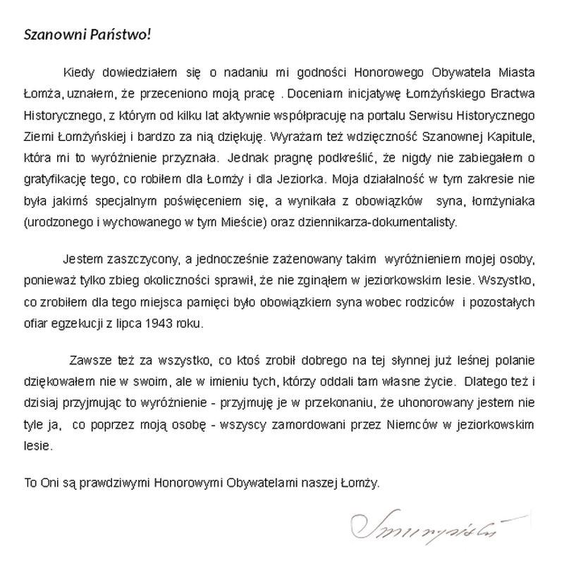List Jerzego Smurzyńskiego