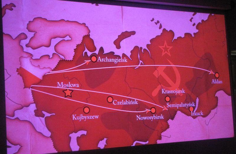 Mapka deportacji w głąb Rosji sowieckiej
