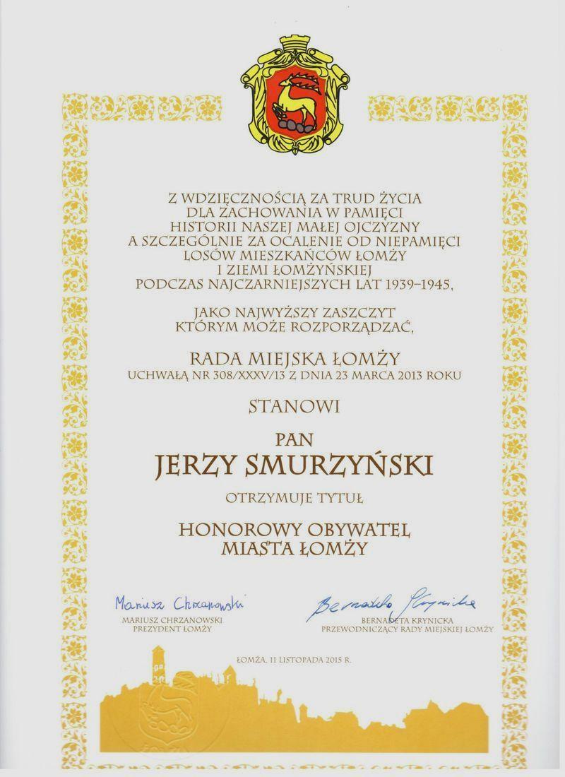 Akt nadania honorowego obywatelstwa Miasta Łomży Panu Jerzemu Smurzyńskiemu