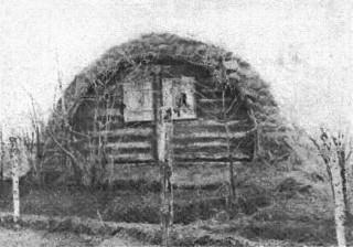 """Szczyt """"ziemianki"""" we wsi Sinkowce. W okienku widać firanki i kwiaty; ludnośt przystosowuje się do tych powojennych warunków bytu, zanim pobuduje się na stałe"""