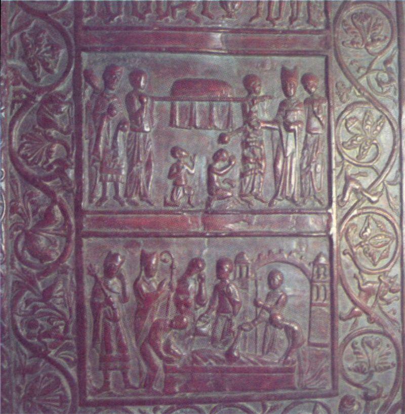 Fragment Drzwi Gnieźnieńskich ze scenami z życia i męczeńskiej śmierci św. Wojciecha.