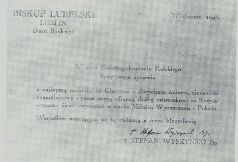 Karta z życzeniami biskupa S. Wyszyńskiego.