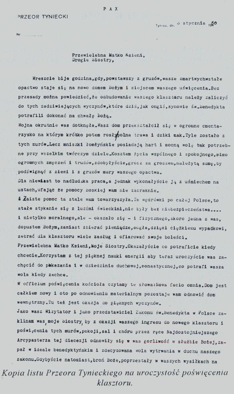 Kopia listu Przeora Tynieckiego