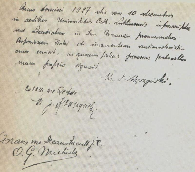 Professio fidei ręcznie napisane przez ks. S. Wyszzyńskiego.