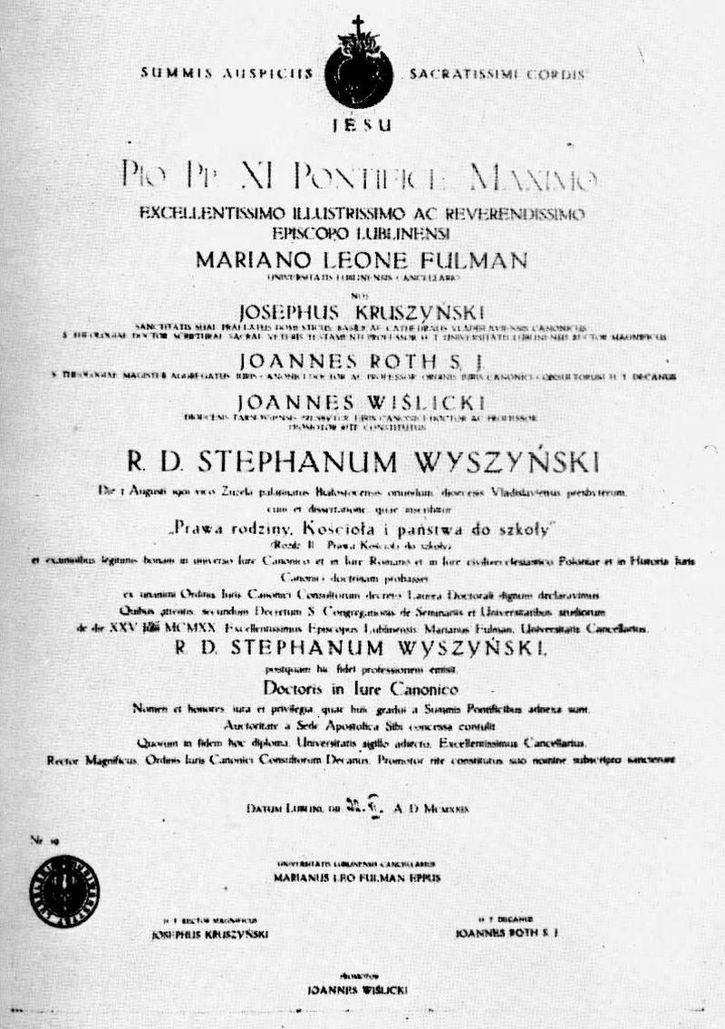"""Dyplom doktorski ks. Stefana Wyszyńskiego, na podstawie rozprawy: ,,Prawa rodziny, Kościoła i państwa do szkoły"""", z 22 czerwca 1929 r."""