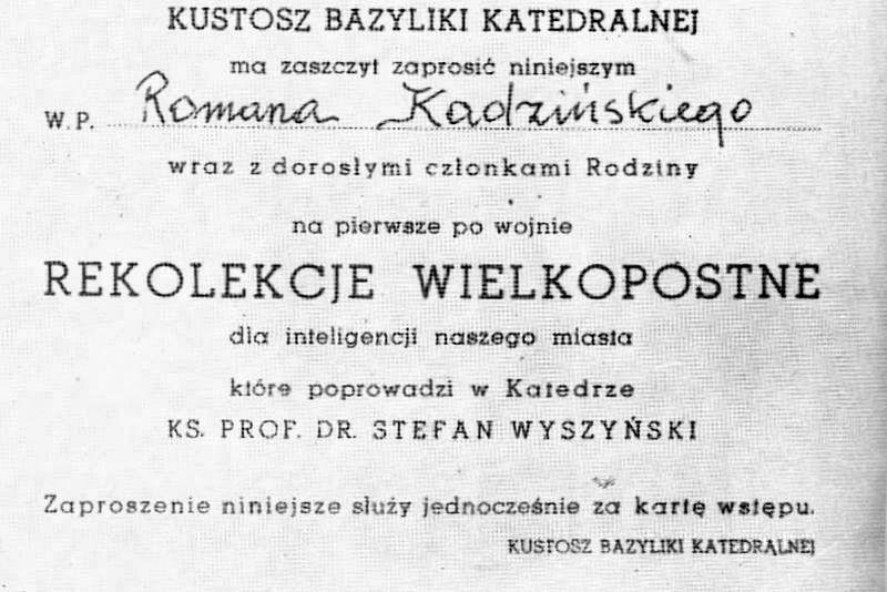 Zaproszenie na pierwsze po wojnie rekolekcje wielkopostne, prowadzone przez ks. prof. S. Wyszyńskiego w katedrze włocławskiej.