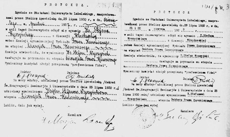 3. Protokoły z egzaminów na stopień licencjata (z 10 grudnia 1927 r) oraz doktora prawa kanonicznego (z 21 i 22 czerwca 1929 r.).
