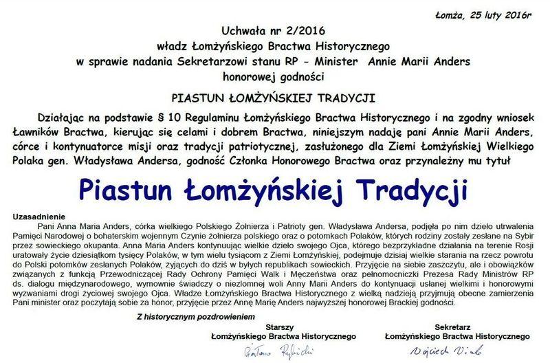 Dyplom Piastuna Łomżyńskiej Tradycji