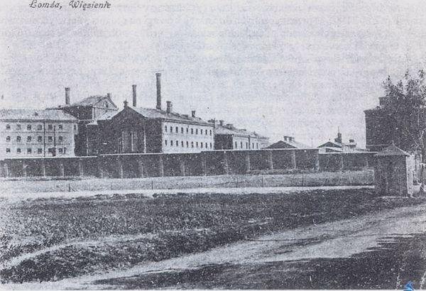 Więzienie łomżyńskie - widok z okresu między wojennego.
