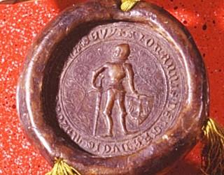 Pieczęć księcia mazowieckiego Janusza I zwanego Starszym. Pieczęć ta była używana do uwierzytelniania dokumentów wystawionych w latach 1379-1429. wł.: Archiwum Główne Akt Dawnych, fot. M.Bronarski, Archiwum Zamku Królewskiego
