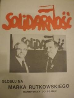 """Kandydat na Posła _Marek Rutkowski z Zambrowa /KO """"Solidarność""""/ na plakacie wyborczym z Lechem Wałęsą źródło: domena publiczna"""
