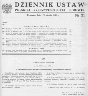 Dz. U. 21 poz.111 z 17 kwietnia 1989r, Uchwała Rady Państwa o zarządzeniu wyborów do Sejmu i Senatu Polskiej Rzeczypospolitej Ludowej