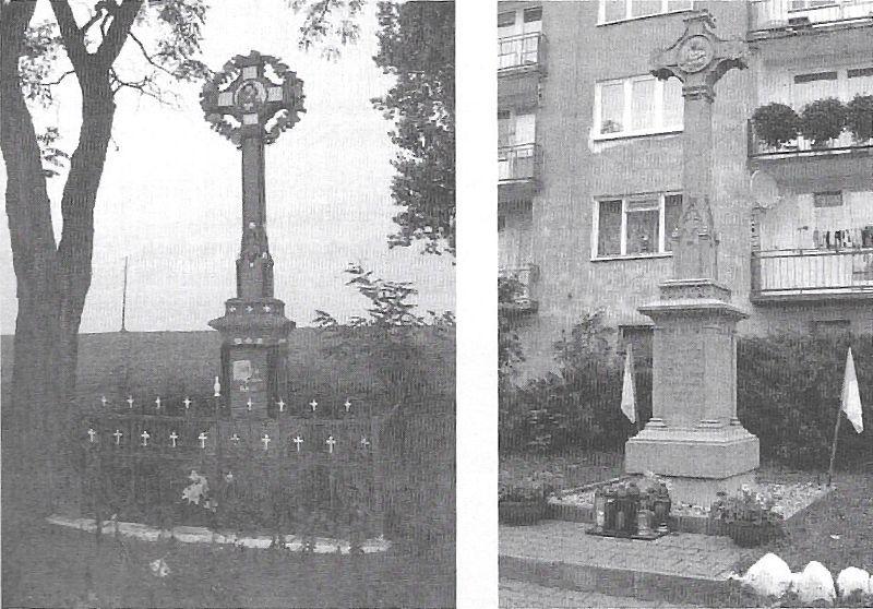 Krzyż Skarżyńskich w Sokolnikach Wielkich przed renowacją i po niej (ze zbiorów Remigiusza Kaczmarczyka z Sokolnik Wielkich)
