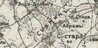 Mapa z 1914r odwzorowująca położenie majątku Skarzyn Abramy (dzisiejszy teren parafii Rosochate Kościelne - gmina Czyżew, do 1998 przynależna do woj. łomżyńskiego)