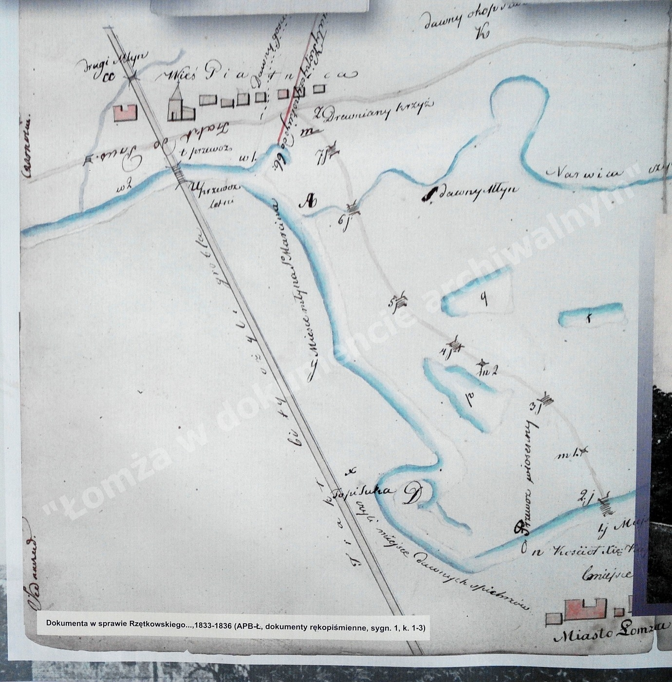 Wyrys z planu okolic Łomży 1833-1836r