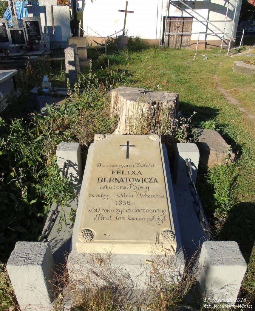 """Grobowiec Feliksa Bernatowicza - autora """"Pojata córka Lezdejki"""""""