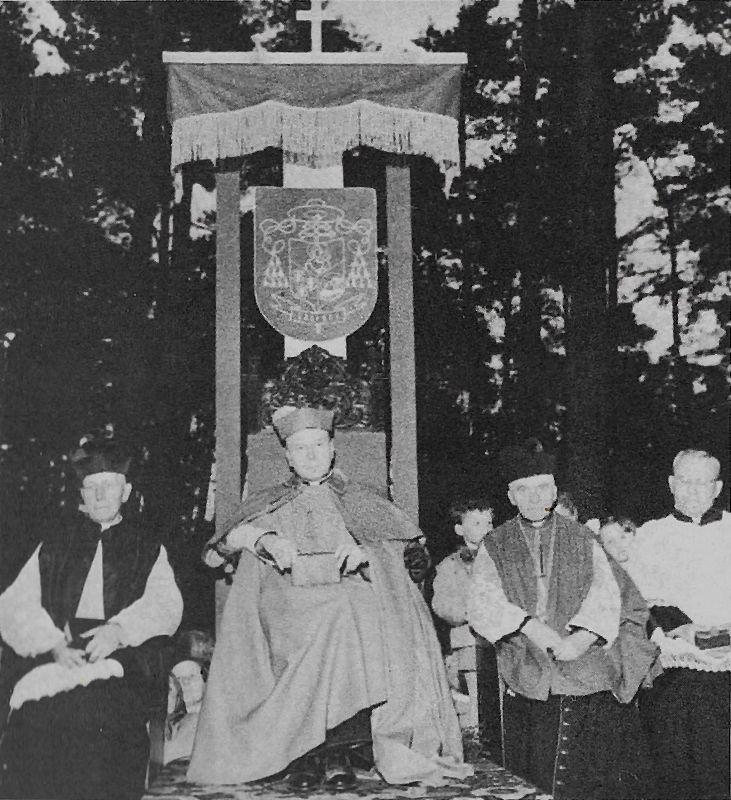 Na tronie wśród drzew, na placu budowy nowego kościoła w Zalesiu Dolnym