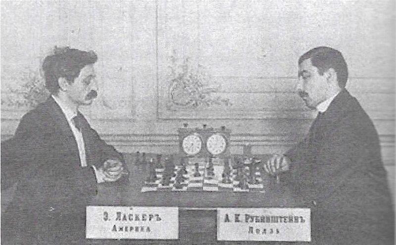 Pojedynek A. Rubinsteina z E. Laskerem na turnieju w Petersburgu w lutym 1909