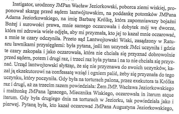 Fragment relacji z procesu Barbary Królki