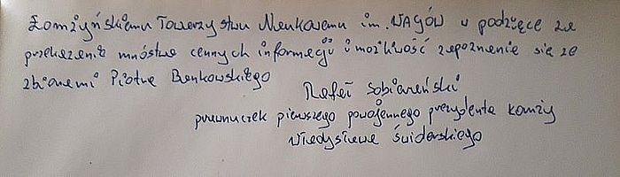 Wpis do księgi Pamiątkowej Pana Rafała Sobierańskiego w Gabinecie Piotra Bańkowskiego